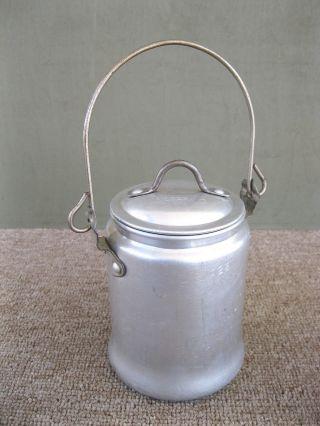 Antique Milk Can Primitive Walker Ware Aluminum 1 Qt Dairy Cream Pail Bail Handl photo