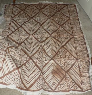 Antique Hand - Painted Tapa Bark Cloth,  South Pacific Polynesian 50