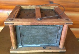 Vintage Primitive Sleigh Wagon Carriage Or Buggy Foot Warmer Punched Tin Pegged photo