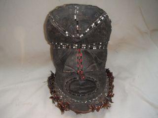 African,  Wooden,  Shell,  Beaded,  Helmet Mask,  Kuba Tribe,  Antique photo