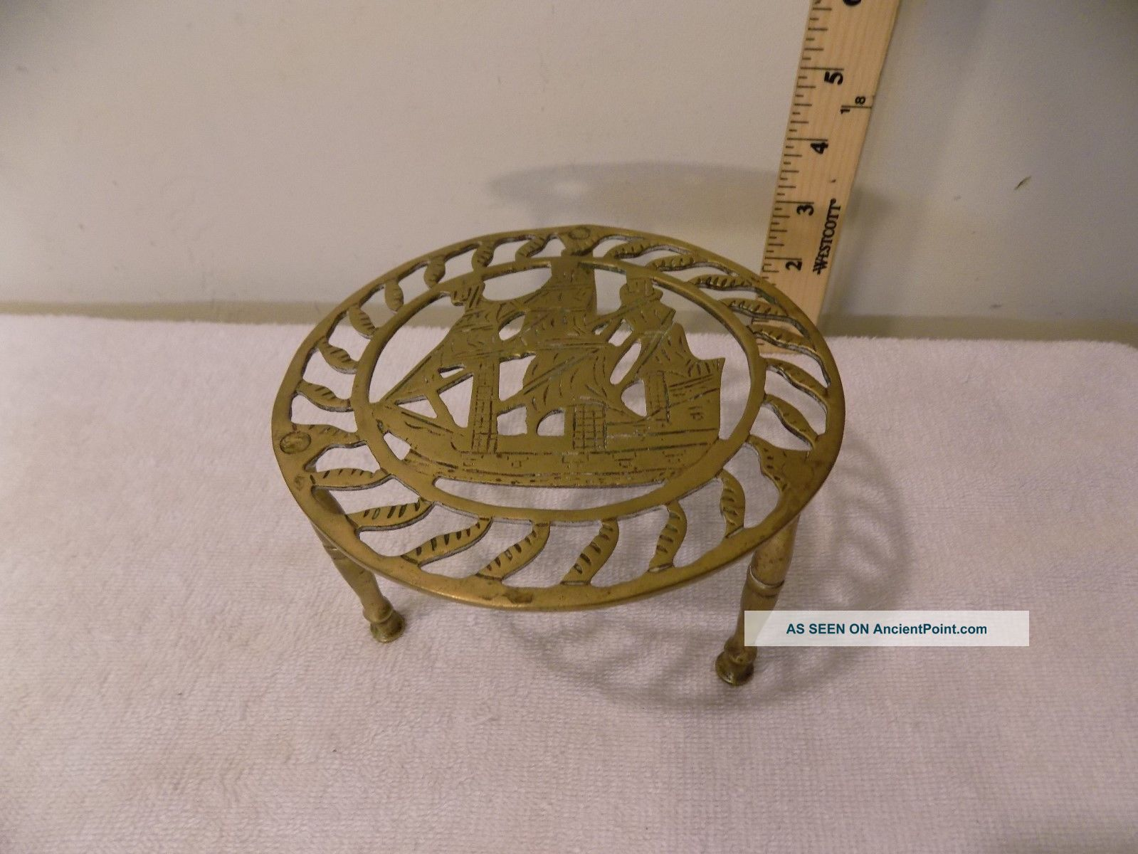 Antique Brass Fireplace Hearth Pot Kettle Trivet Stand,  Nautical Sailing Ship Trivets photo