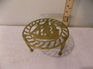 Antique Brass Fireplace Hearth Pot Kettle Trivet Stand,  Nautical Sailing Ship photo