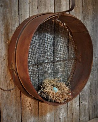 Antique Primitive Early Round Bent Wood Coal Sifter Sieve Tool Aafa photo