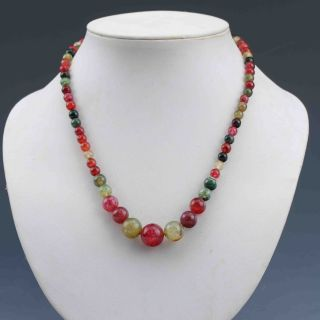 Chinese Natural Jade Handwork Beads Necklace G845 photo