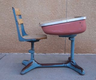 Vintage 1930s Child ' S School Desk & Chair Wood And Metal photo