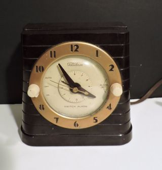 Vintage Telechron Bakelite Art Deco Switch Alarm Electric Clock Lite Call photo