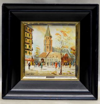 French Listed Artist Charles Nicoise 1950 ' S European Hand Painted Art On Tile photo