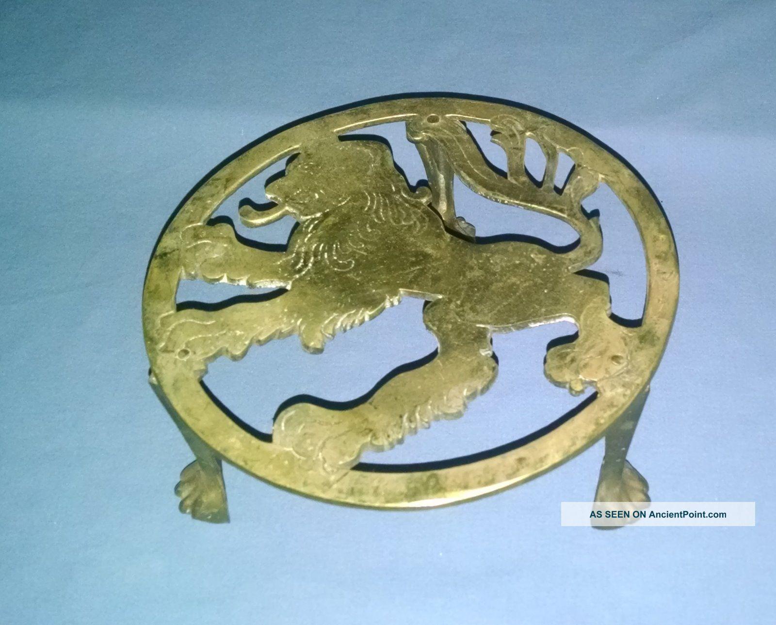 Antique Brass Footed Lion Motif Trivet Trivets photo