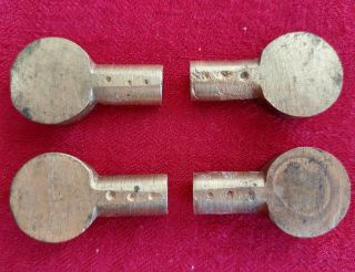4 Vintage Brass Bookshelf Shelf Push In Support Pegs Pin Bookcase Antique 11/32