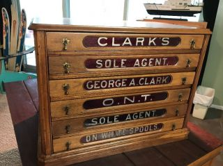 19th Century Clarks Spool Thread Counter Display Cabinet Chest Red Glass Drawers photo