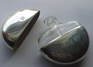 Vtg Ww2 Era 1943 Sterling Silver Glass Perfume Bottle Mary Dunhill Flask Compact photo
