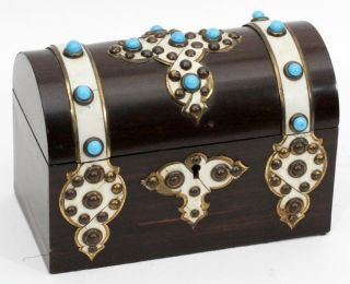 English Antique Box - Walnut Chest With Turquoise Stones From Victorian Era photo
