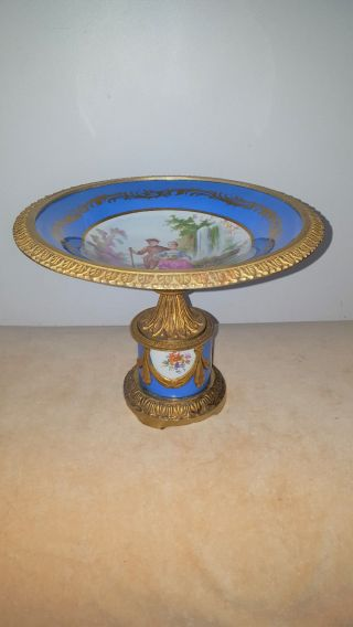 French Sevres Style Signed Hand Painted Porcelain Pedestal Centerpiece photo
