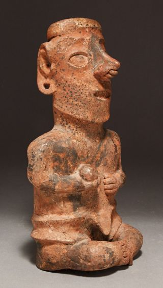 A Large Pre - Columbian Nayarit Seated Figure Of A Ballplayer,  Circa 100 Bc - Ad 250 photo