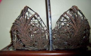 Rare Pair Vintage Copper Batik Stamp Tjap Chop For Hand Block Printing Swans photo