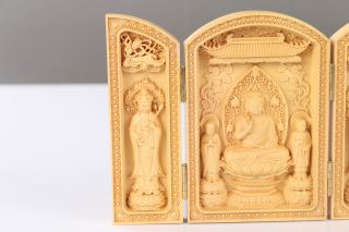 Decorated 100 Boxwood Highly Difficulty Carved Buddhism Statue Folding Box H704 photo