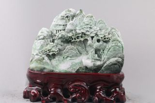 Exquisite 100 Natural Dushan Jade Carved Mountain & Tree & Man Statue Db32 photo