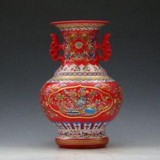 Jingdezhen Famille Rose Porcelain Hand - Painted Poeny Pattern Vase Csyb322s photo