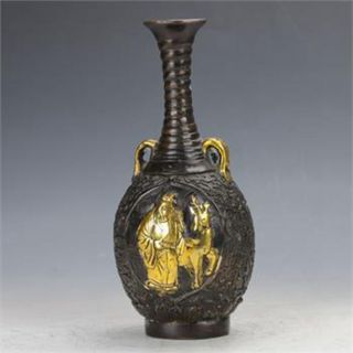 Old Peiking Brass Gilt Handwork The God Of Wealth Motif Vase W Xuande photo