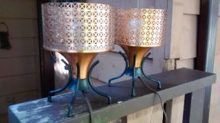 Mid Century Space Age Bedside Table Lamps photo