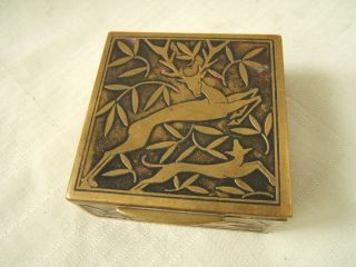 Art Deco Cigarette Box With Deer & Rabbit & Dog Brass Cut Out Figures photo