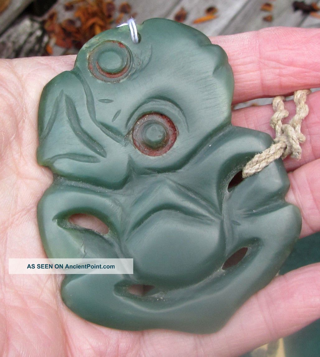 Flawless Inanga Pounamu Zealand Nephrite Greenstone Jade Old Maori Hei Tiki Pacific Islands & Oceania photo