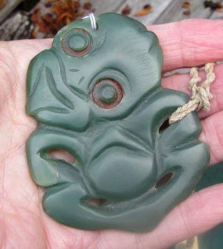 Flawless Inanga Pounamu Zealand Nephrite Greenstone Jade Old Maori Hei Tiki photo