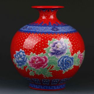 Chinese Color Porcelain Hand - Painted Peony Vase W Qianlong Mark Gd6316 photo