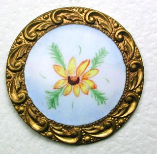 Antique Enamel Button Detailed Hand Painted Flower W/ Fancy Brass Border 1