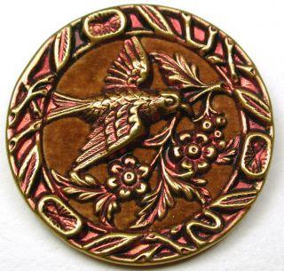 Lg Sz Antique Brass Button Velvet Lined Bird Carrying Flower - 1 & 1/2