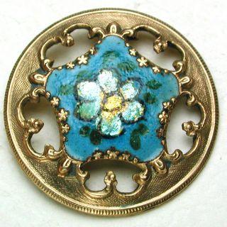 Antique French Enamel Button Pierced Turquoise W/ Foil Flower Design 1