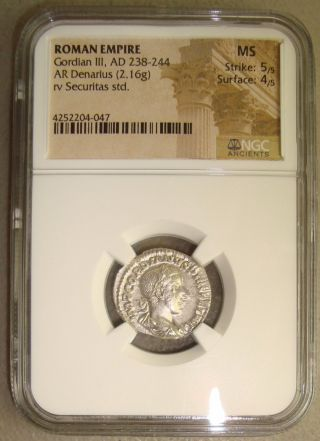 Ad 238 - 244 Gordian Iii Ancient Roman Silver Denarius Ngc Ms (state) 5/5 4/5 photo