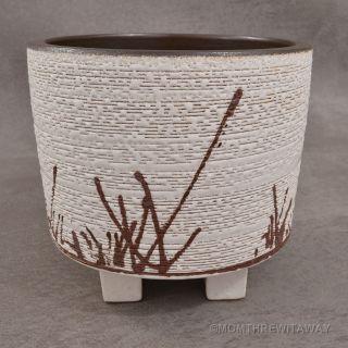 Mid Century Ikebana Footed Pottery Vase Eames Era Bonsai Planter Japanese Motif photo