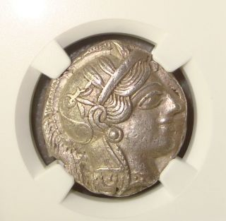 440 - 404 Bc Attica,  Athens Athena / Owl Ancient Greek Silver Tetradrachm Ngc Au photo
