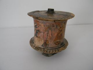 Antique Roman Pottery - Covered Vessel - Dice Cup - Hand Painted With Angels photo
