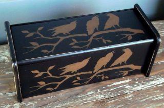Primitive Crow Wood Recipe Card Storage Box W/ Divider Black 12
