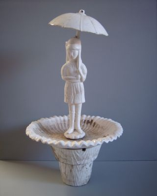 Old Vintage Girl W/ Umbrella Figural Garden Water Fountain 3pc photo