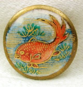 Vintage Satsuma Button Detailed Red Fish Pictorial W/ Gold Accents - 15/16