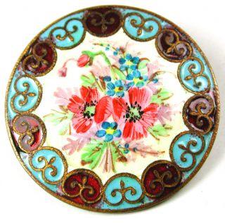 Lg Sz Antique Enamel Button Hand Painted Flowers W/ Champleve Border 1 & 5/16