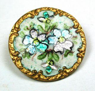 Antique Enamel Button Four Flowers On Foil W/ Fancy Brass Border 7/8