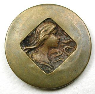 Antique Brass Button Arts & Crafts Style Art Nouveau Woman Pictorial 1 & 1/16