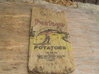 Vintage Burlap Potato Gunney Sack Portage Indian Canoe Antiqu Wi Gunny Cloth Bag photo