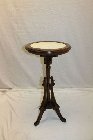 Elegant Antique American Made Walnut Round Marble Top Lamp Side Table,  19th C. photo