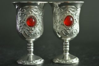Rare China Collecte Miao Silver Carving Totem Inlay Beads Pair Usable Wine Cups photo