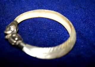 Vintage India Silver Bracelet - Double Elephant Head And Mother Of Pearl Bangle photo