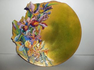 Vintage Mid Century Modern Copper Enamel Bowl Rosemary Combs Laser Cut Iris photo