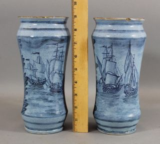 1726 Antique 18thc Light Blue Faience Majolica Apothecary Jars,  Ship Paintings photo