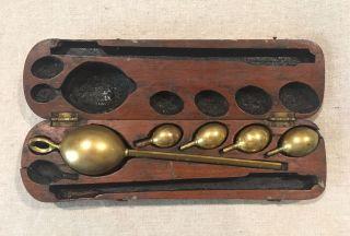 Antique L Oertling Ltd London Hydrometer Brass Weights In Mahogany Box photo