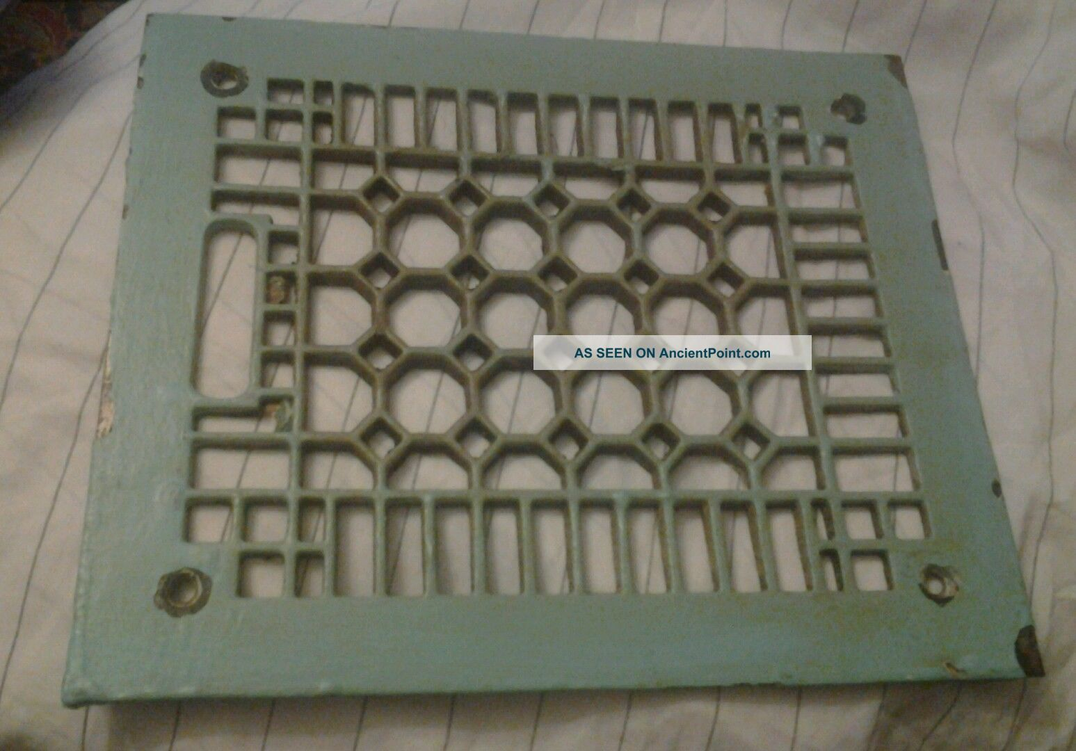 Vintage Decorative Heat /register Grate Geometric Design 12 By 9 3/4 Heating Grates & Vents photo
