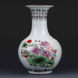 Chinese Color Porcelain Hand - Painted Lotus Vase W Qianlong Mark Gd6436 photo